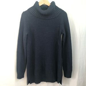 HILARY RADLEY l blue long knit high neck sweater